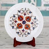 Marble inlay plate, 'Rose Mosaic' - Marble Inlay Plate with Wood Stand