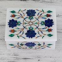 Marble inlay jewelry box, 'Blue Rose Secrets' - Blue Rose Marble Inlay Jewelry Box