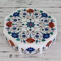Marble inlay jewelry box, 'Floral Harmony' - Hand Crafted Marble Inlay Jewelry Box