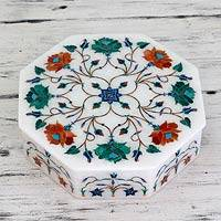 Marble inlay jewelry box, 'Roses in Harmony' - Hand Crafted Marble Inlay Jewelry Box