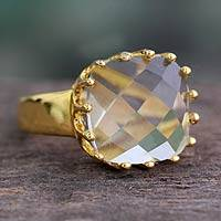 Vermeil prasiolite single stone ring, 'Spell of Compassion' - Hand Crafted Rose Quartz and Gold Vermeil Ring