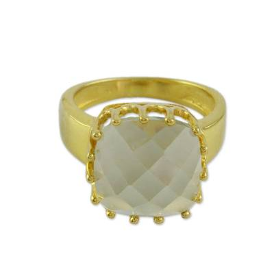 Hand Crafted Rose Quartz and Gold Vermeil Ring