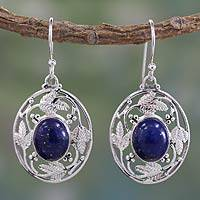 Lapis lazuli dangle earrings, 'Ocean Avatar' - Fair Trade Lapis Lazuli Handcrafted Earrings