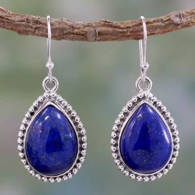 Lapis lazuli dangle earrings, 'Inspiration' - Lapis Lazuli and Sterling Silver Earrings