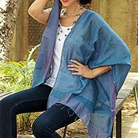 Silk reversible shawl, 'Blue Lilac' - 100% Natural Silk Shawl Reversible Wrap