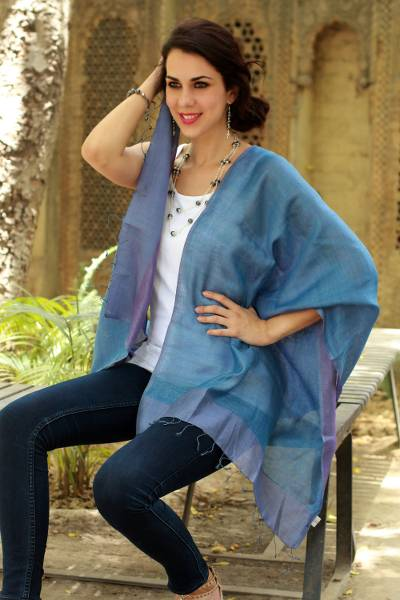 Silk reversible shawl, Blue Lilac