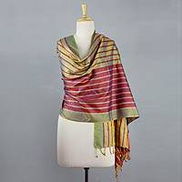 Silk shawl, 'Shimmering Iridescence' - Gold and Red Iridscent Eri Silk Shawl