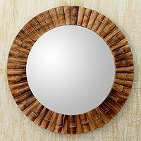 Mirror, 'Bamboo Halo' - Handcrafted Bamboo Mirror from India