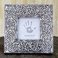 Aluminum photo frame, 'Silver Vines' (3x3) - Embossed Aluminum Picture Frame (3 x 3)