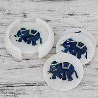 Marble inlay coasters, 'Blue Elephant Gems' (set of 6) - Hand Crafted Marble Inlay Elephant Theme Coasters Set for 6