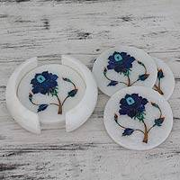 Marble inlay coasters, 'Rose Gems' (set of 6) - Blue Floral Marble Inlay Coasters (Set for 6)