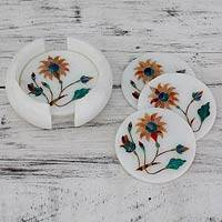 Marble inlay coasters, 'Dahlia Gems' (set of 6) - Orange Floral Marble Inlay Coasters (Set for 6)