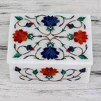 Marble inlay jewelry box, 'Dahlia Secrets' - Orange and Blue Floral Marble Inlay jewellery Box