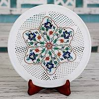 Marble inlay plate, 'Garden of Love' - India Hand Crafted Marble Inlay Plate and Stand