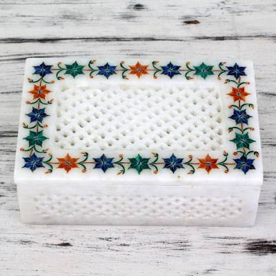Marble inlay jewelry box, Jasmine Petals