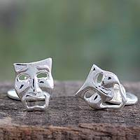 Sterling silver cufflinks, 'Comedy and Drama Masks' - High Polished Sterling Silver Cufflinks