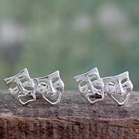 Sterling silver cufflinks, 'Twin Comedy and Drama Masks' - High Polished Sterling Silver Cufflinks