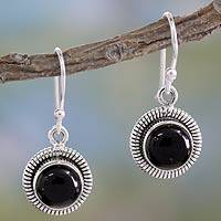 Onyx dangle arrings, 'Universal' - Fair Trade Sterling Silver and Onyx Earrings