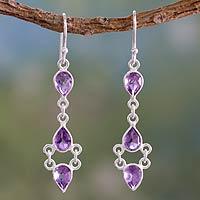 Amethyst dangle earrings, 'Mystic Wonder' - Amethyst and Sterling Silver Indian Earrings
