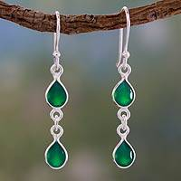 Green onyx dangle earrings, 'Mystical Femme' - Fair Trade Sterling Silver and Green Onyx Earrings