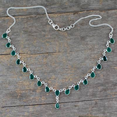 Sterling silver Y-necklace, 'Mystical Femme' - Sterling Silver Y-necklace with Green Onyx