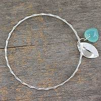 Chalcedony bangle bracelet, 'Glistening Dew' - Fair Trade Jewelry Sterling Silver Bracelet with Chalcedony