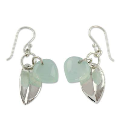 Fair Trade Jewelry Sterling Silver Earrings with Chalcedony