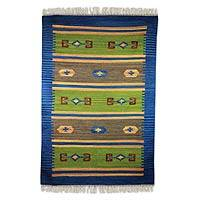 Wool dhurrie rug, 'Love of Nature' (4x6) - Blue and Green Wool Dhurrie