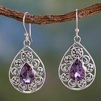 Amethyst dangle earrings, 'Dew-Kissed Lilacs' - Silver Jali Amethyst Earrings