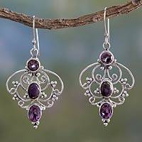 Amethyst dangle earrings, 'Purple Arabesque' - Artisan Crafted Amethyst Earrings with Composite Turquoise