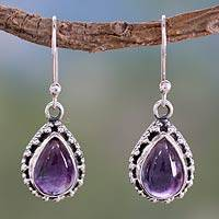Amethyst dangle earrings, 'Kiss Me' - Fair Trade Amethyst Earings