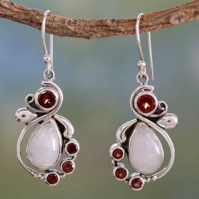 Garnet and rainbow moonstone dangle earrings, 'Exquisite' - Handmade Garnet Earrings with Rainbow Moonstone