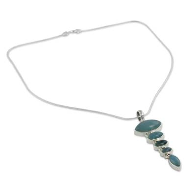 Blue Chalcedony Pendant on Sterling Silver Necklace
