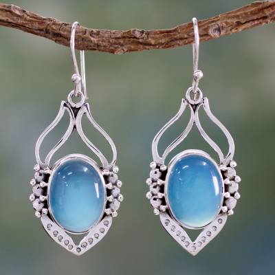 Sterling silver dangle earrings, 'Passion Leaf' - Blue Chalcedony Sterling Silver Earrings from India