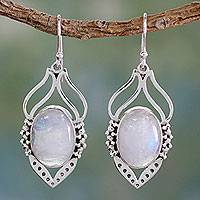 Rainbow moonstone dangle earrings, 'Passion Leaf' - Rainbow Moonstone Jewelry Indian Sterling Silver Earrings