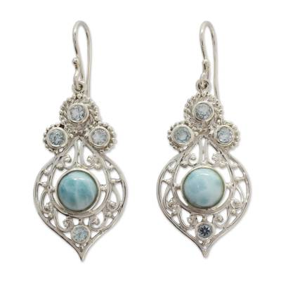 Fair Trade Larimar and Blue Topaz Sterling Silver Earrings