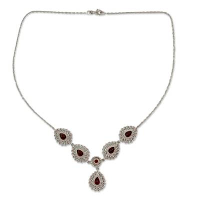 Indian Y-necklace in Garnet and Sterling Silver