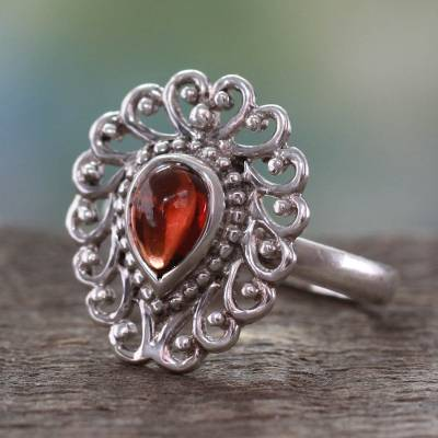 Garnet ring, 'Passion's Truth' - Hand Crafted Indian Ring in Garnet and Sterling Silver