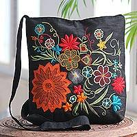 Embroidered cotton blend shoulder bag,