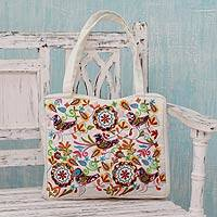 Embroidered cotton shoulder bag, Happy Paradise - Embroidered Flowers and Birds on White Shoulder Bag