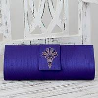 Embellished clutch, 'Blue Exuberance' - Blue Embellished Clutch Bag from India