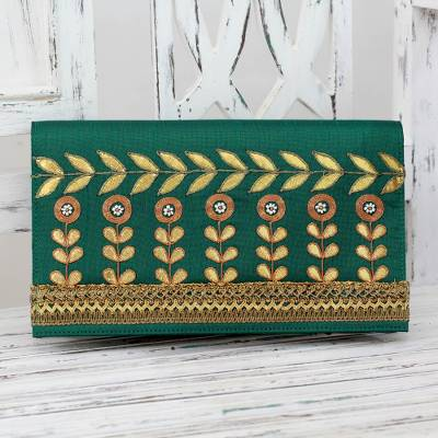 Embellished clutch, 'Golden Bouquet' - Indian Embellished Clutch Bag in Gold and Green