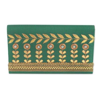 Indian Embellished Clutch Bag in Gold and Green