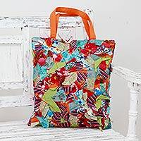 Upcycled cotton shoulder bag, 'Beautiful Chaos' - Multi Color Patchwork on Cotton Shoulder Bag