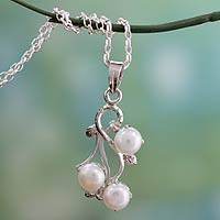 Cultured pearl pendant necklace, 'Mystic Fruit' - Sterling Silver and White Pearl Necklace from India
