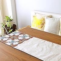 Beaded applique table runner, 'Ginger Stars' - Embroidered Applique Table Runner with Beadwork from India