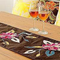 Appliqu� table runner, 'Floral Cascade' - Pink and Lilac Applique Flowers on Brown Table Runner