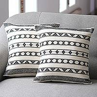 Cotton cushion covers, 'Desert Geometry' (pair) - Hand Crafted Cotton Patterned Cushion Cover (Pair)