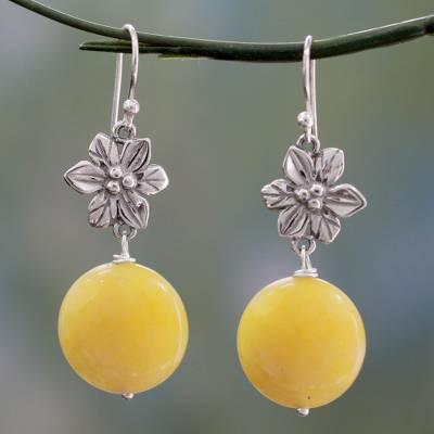 Hand Made Silver And Yellow Agate Flower Earrings From