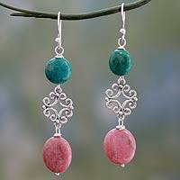 Rhodonite dangle earrings, 'Arabesque' - Hand Made Rhodonite and Reconsituted Turquoise Earrings